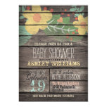 Yellow Flowers on Rustic Wood Baby Shower 13 Cm X 18 Cm Invitation Card
