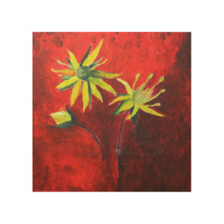 Yellow Flowers Painting  Wood Wall Art