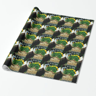 Yellow Flowers Picnic Basket Wrapping Paper