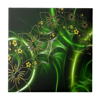 Yellow flowers shimmering green fractals small square tile