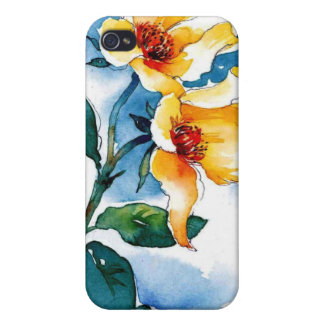 yellow flowers Watercolor Ipod4 iPhone 4 Covers
