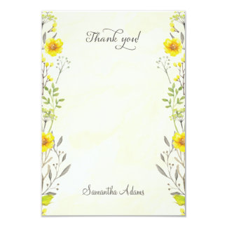 Yellow Flowers Watercolor Thank You Card 9 Cm X 13 Cm Invitation Card