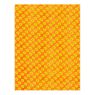 Yellow flowers with orange background postcard