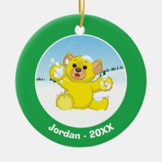Yellow Fluffy Cub Christmas Ornament