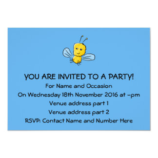 Yellow Flying Insect Bug 11 Cm X 16 Cm Invitation Card