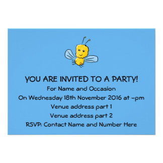 Yellow Flying Insect Bug Personalized Invitations