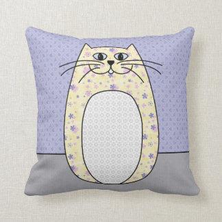 Yellow Folk Cat Pillow