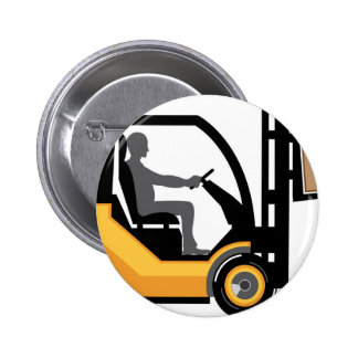 Yellow forklift 6 cm round badge