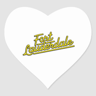 yellow Fort Lauderdale Heart Stickers