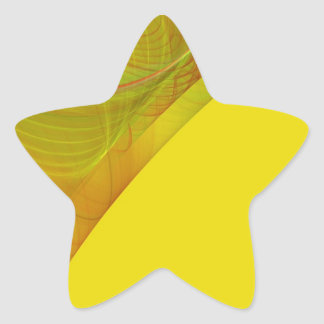 Yellow Fractal Background Star Sticker