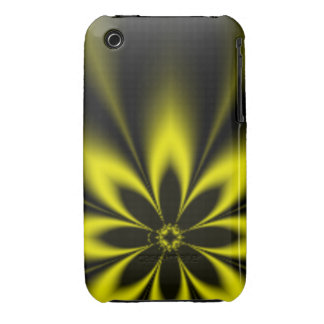 Yellow Fractal Burst iPhone 3 Covers