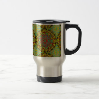 Yellow Fractal Pattern Large Travel Mug
