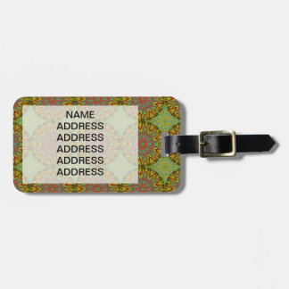 Yellow Fractal Pattern Luggage Tag