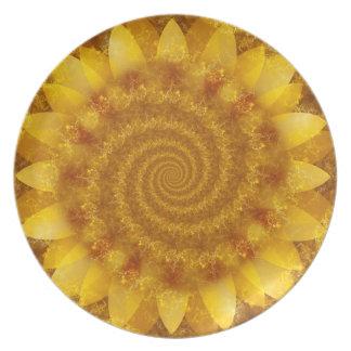 Yellow Fractal Sunflower Melamine Plate