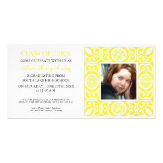 Yellow frame -Photo Graduation Party invites Personalised Photo Card
