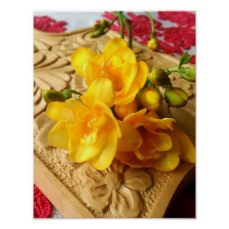 Yellow Freesia Bouquet Poster