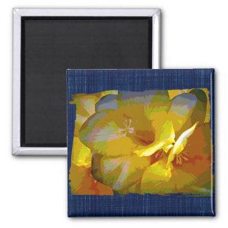Yellow Freesia Digital Manipulation Square Magnet