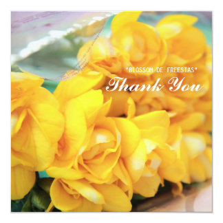 Yellow Freesias Thank you 13 Cm X 13 Cm Square Invitation Card