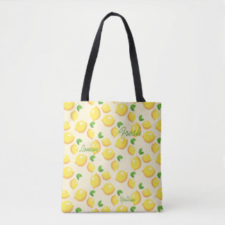 Yellow fresh lemons , summer tote bag
