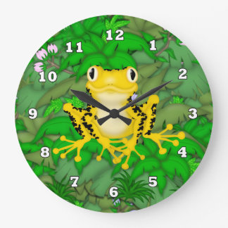Yellow Frog Cartoon Jungle wall clock