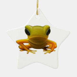 Yellow Frog Ceramic Star Decoration