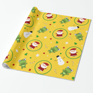 Yellow frogs santa claus snowmen wrapping paper