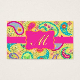 Yellow Fuchsia Pink Modern Paisley Monogram Business Card