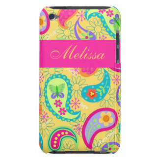 Yellow Fuchsia Pink Modern Paisley Whimsy Pattern iPod Touch Cases