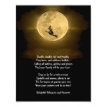 Yellow Full Moon and Witch Halloween Party 11 Cm X 14 Cm Invitation Card