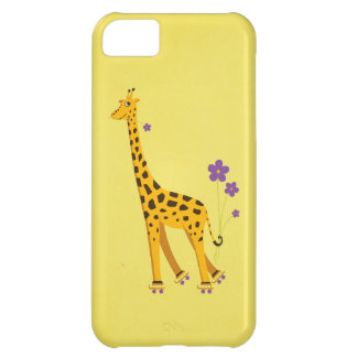 Yellow Funny Cartoon Giraffe Roller Skating iPhone 5C Case