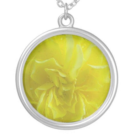 yellow garden flower, begoina round pendant necklace