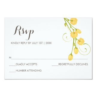 Yellow Garden Roses - RSVP Card
