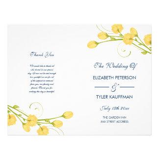 Yellow Garden Roses with navy text wedding program 21.5 Cm X 28 Cm Flyer