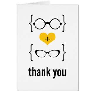 Yellow Geeky Glasses Thank You Card