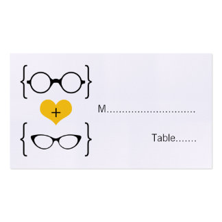 Yellow Geeky Glasses Wedding Place Cards Pack Of Standard Business Cards
