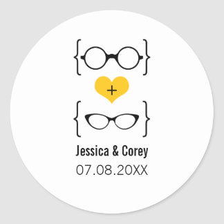 Yellow Geeky Glasses Wedding Stickers