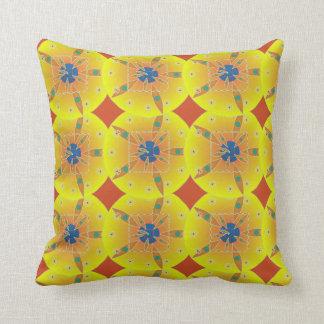 Yellow Geometric Flowers Cotton Pillow
