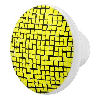 Yellow geometric pattern ceramic knob