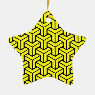 Yellow Geometric Pattern Christmas Ornament