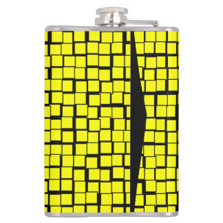 Yellow geometric pattern hip flask