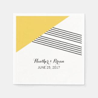 Yellow Geometric Stripe Paper Napkins
