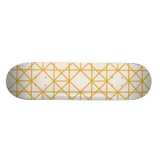 Yellow geometrical retro vintage patterns 21.6 cm old school skateboard deck