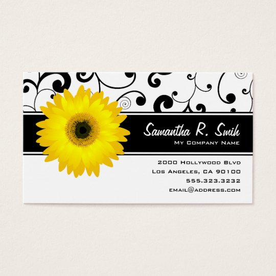 Yellow Gerbera Daisy Black & White Scroll Business Card