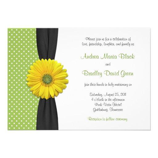 Yellow Gerbera Daisy Polka Dot Wedding Invitation