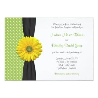 Yellow Gerbera Daisy Polka Dot Wedding Invitation