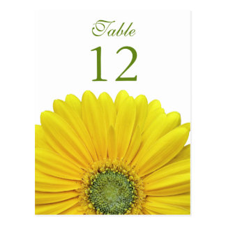 Yellow Gerbera Daisy Table Number Card