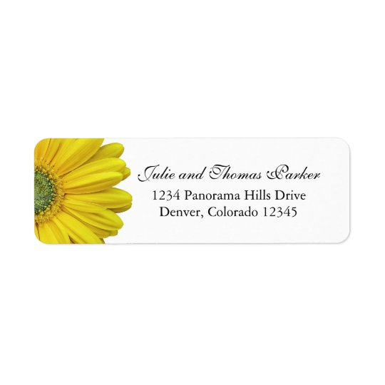 Yellow Gerbera Daisy Wedding Return Address Labels