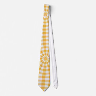Yellow gingham 70s effect tie