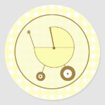 Yellow Gingham Baby Carriage Sticker
