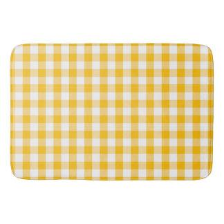 Yellow Gingham Check Pattern Bath Mat